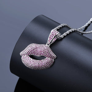 Iced Out Red Lips Pendant