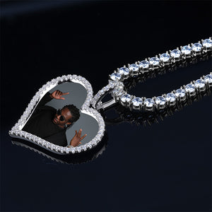 Silver Custom Made Photo Heart Medallions Pendant - MajesticVUE