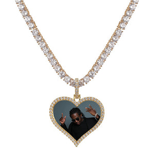 Gold Custom Made Photo Heart Medallions Pendant - MajesticVUE