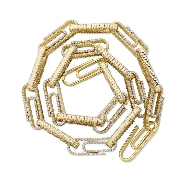 Gold 10mm Paper Clip Iced Out Chain Necklace - MajesticVUE