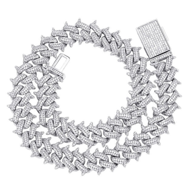 Silver Big Box Clasp Cuban Link Necklace - MajesticVUE