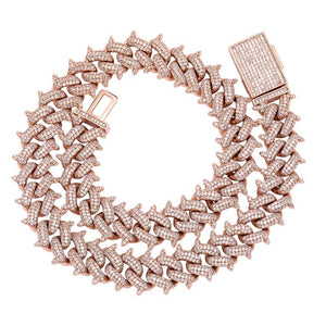 Rose Gold Big Box Clasp Cuban Link Necklace - MajesticVUE