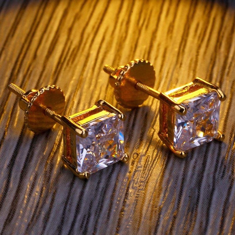 CZ Stone Lab D Stud Earrings With Screw Back - MajesticVUE
