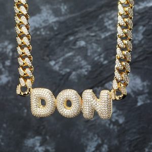 Gold Custom Name Bubble Letters Chain Pendants - MajesticVUE