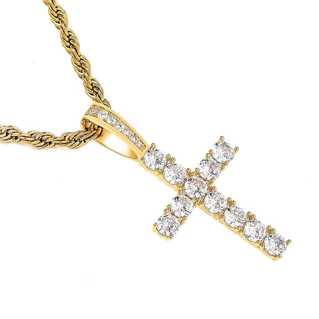 Gold Iced Out AAA Cubic Zircon Micro Cross Pendant - MajesticVUE