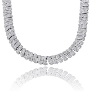 Silver Iced Out Cubic Zircon Cuban Link Necklace - MajesticVUE