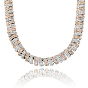 Two Tone Iced Out Cubic Zircon Cuban Link Necklace - MajesticVUE