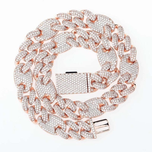 Rose Gold Box Clasp Cuban Link Chain Necklace - MajesticVUE