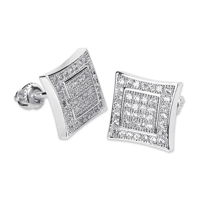 Iced Cubic Zircon Square Shape Stud Earrings For Women - MajesticVUE