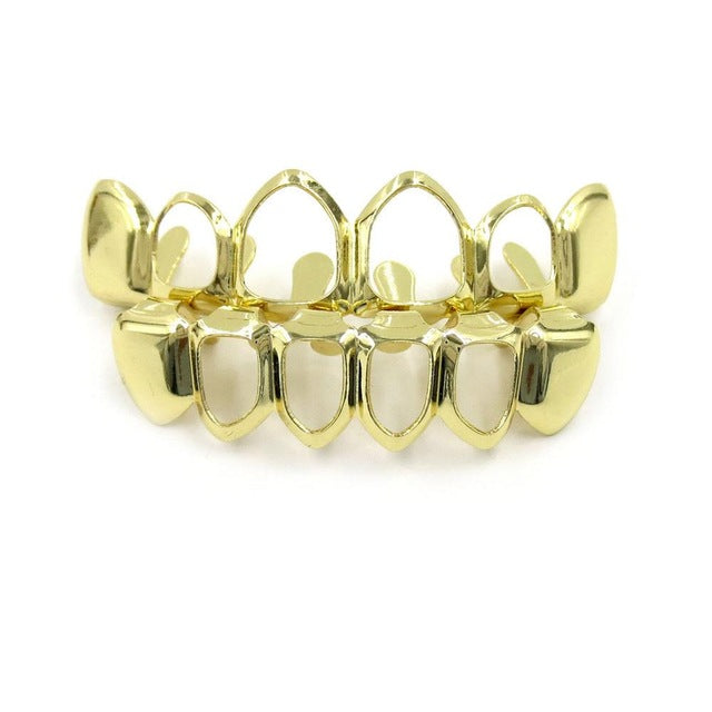 Color Plated Vampire Four Open Face Hallow Gold Grillz