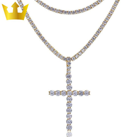 Image of 18K GOLD, 2x TENNIS XL CROSS. - MAJESTICVUE