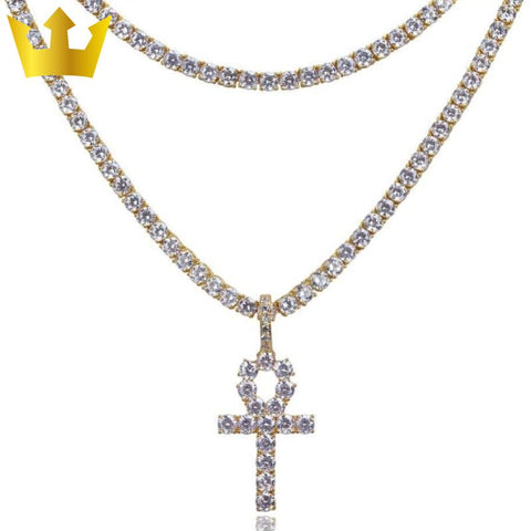 Image of 18K GOLD, 2x TENNIS ANKH. - MAJESTICVUE