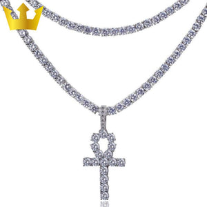 Iced Out 18K Gold Ankh Tennis Bundle - MajesticVUE