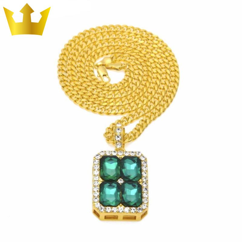 18k Gold Cube Green Stone X4 Chain Necklace - MajesticVUE