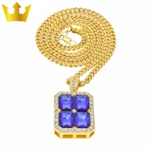 18k Gold Cube Blue Stone X4 Chain Necklace - MajesticVUE