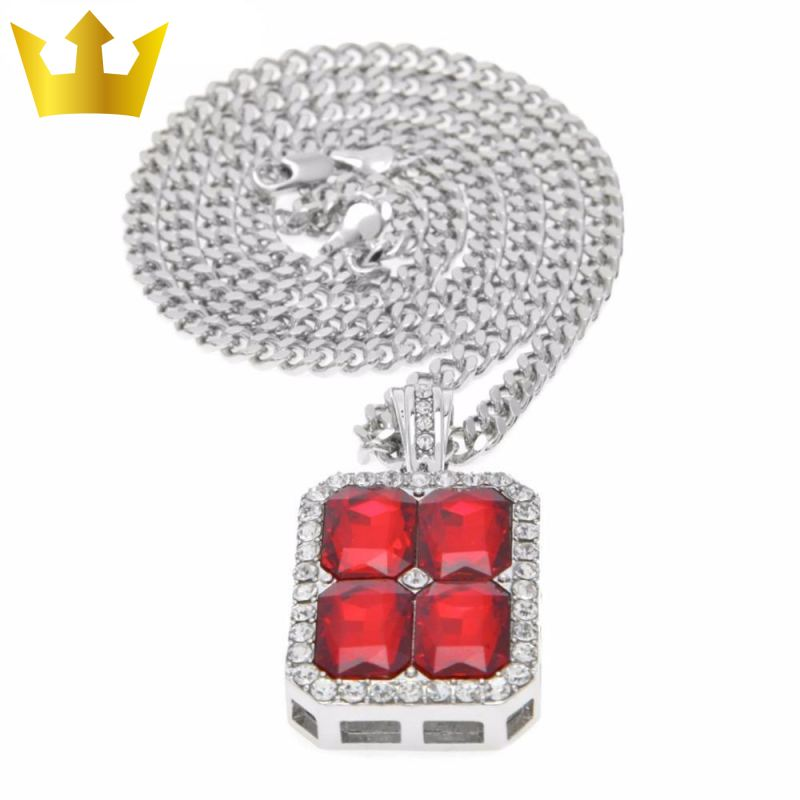 18k Gold Cube Red Stone X4 Chain Necklace - MajesticVUE