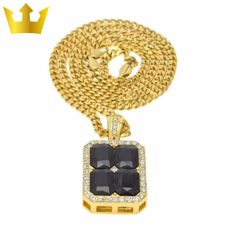 18k Gold Cube Black Stone X4 Chain Necklace - MajesticVUE