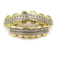 Gold Iced Out CZ Teeth Grillz - MajesticVUE