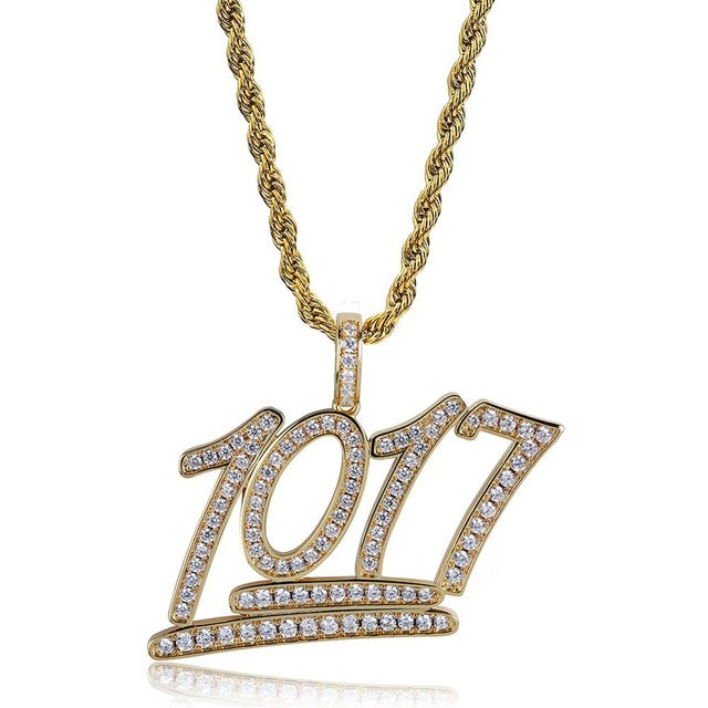 Gold 1017 Iced Out Letters Pendant - MajesticVUE