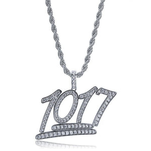 Silver 1017 Iced Out Letters Pendant - MajesticVUE