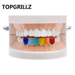 Gold Copper Rainbow Hip Hop Teeth Grillz - MajesticVUE