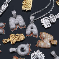 Gold, Silver & Rose Gold A-Z Custom Name Bubble Letters Necklace & Pendant - MajesticVUE
