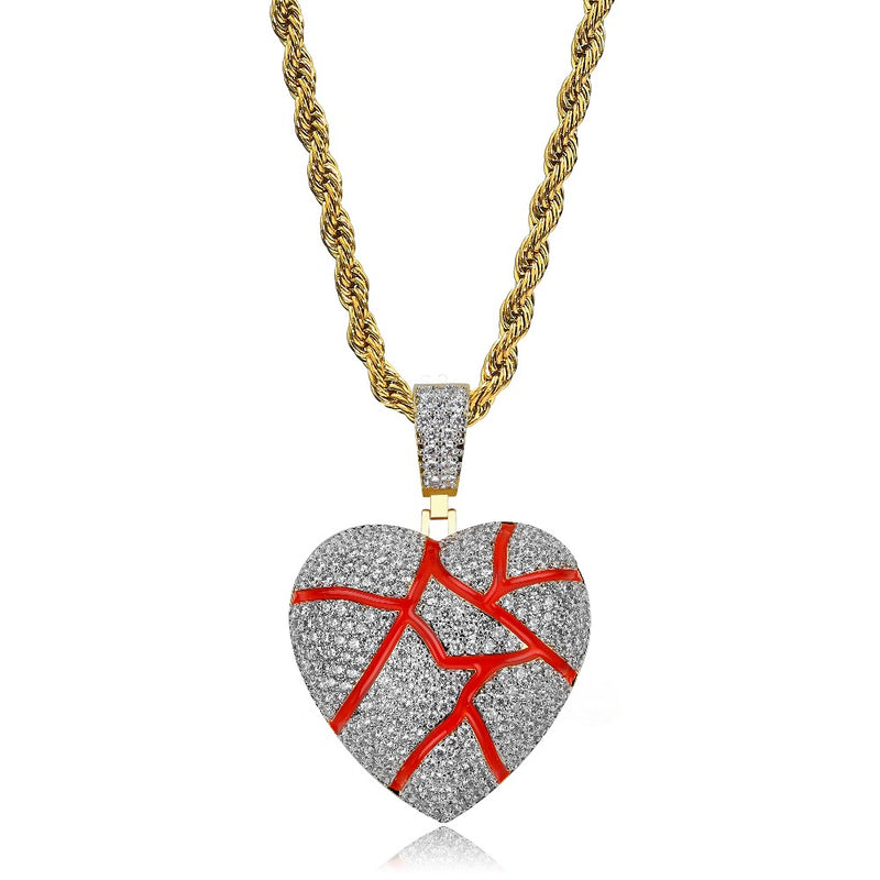 Gold Broken Heart Iced Out CZ Pendant - MajesticVUE