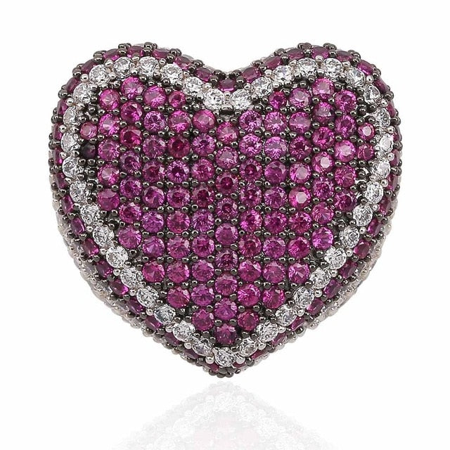 Micro Pave Cubic Zircon Heart Ring