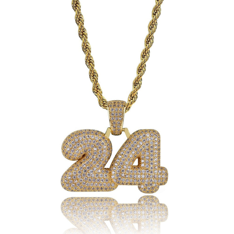 Gold 24 Name Bubble Letter Pendant - MajesticVUE