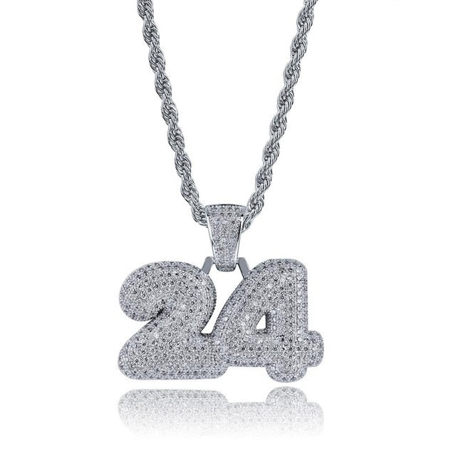 Silver 24 Name Bubble Letter Pendant - MajesticVUE