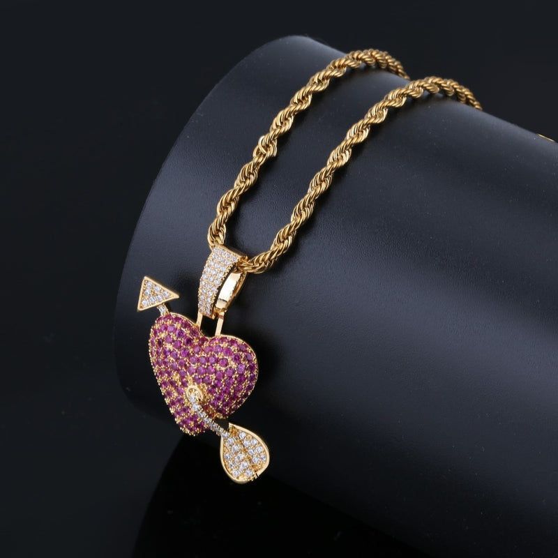Iced out Solid Heart With Arrow Necklace & Pendant