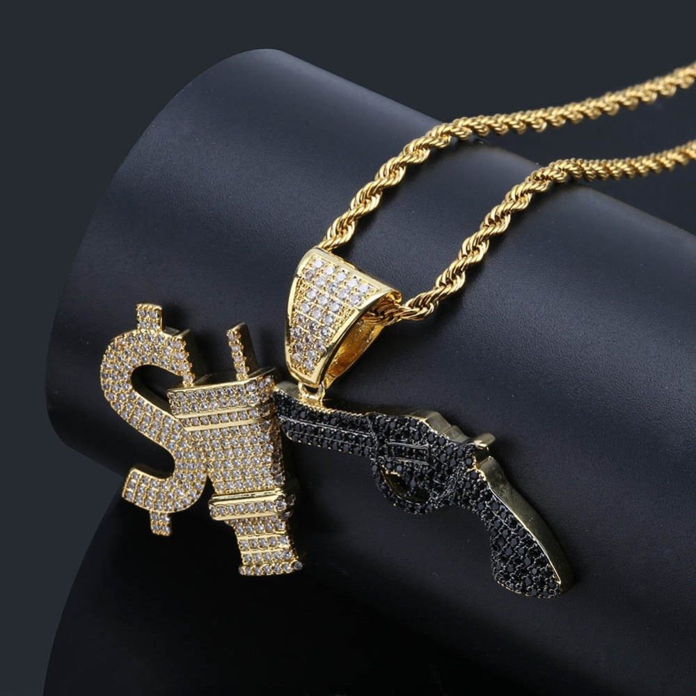Hip Hop Iced Out Cubic Zircon Dollar Sign Plug Gun Pendant