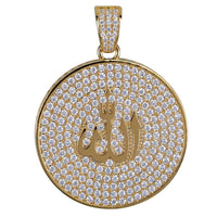 Iced Out Cubic Zircon Round Religio Jewish Sign Pendant