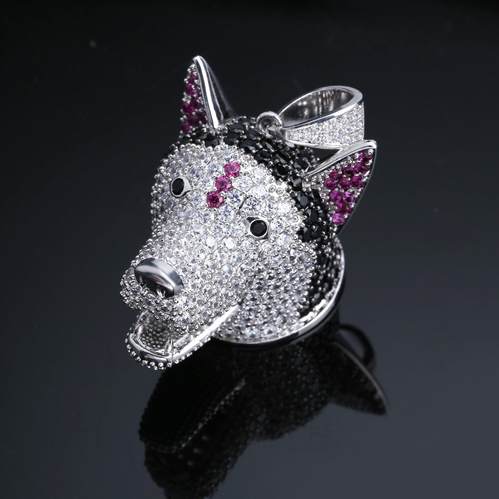 Dog Head Iced Out Pendant