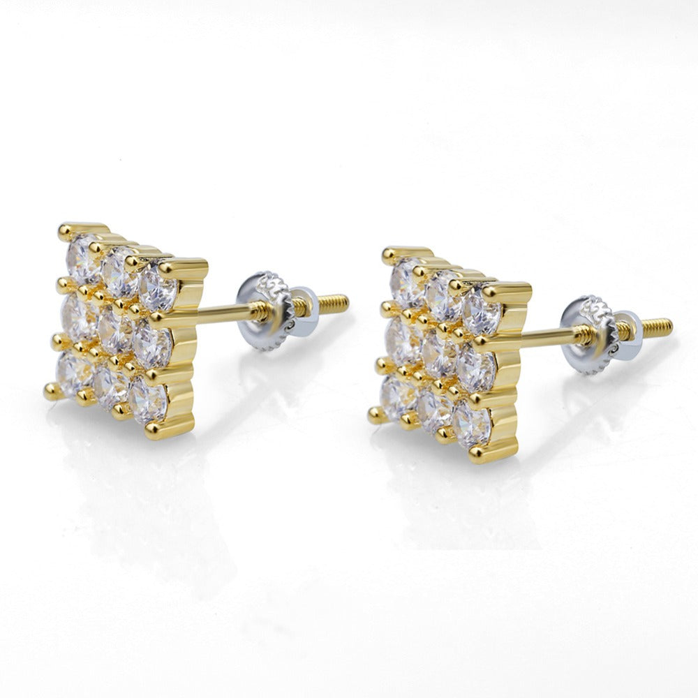 Cubic Zircon Square Stud Earrings - MajesticVUE