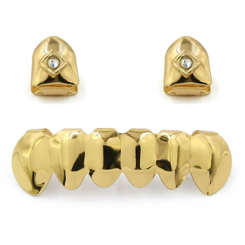 Gold 2 Single Top & 6 Bottom Teeth Grillz - MajesticVUE