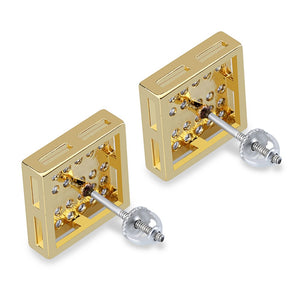 Hip Hop 925 Silver Square Segmentation Stud Earrings - MajesticVUE