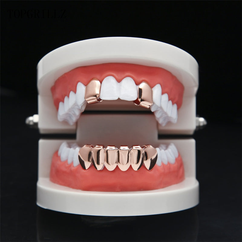 Hip Hop Six Plated Teeth Mouth Grillz - MajesticVUE