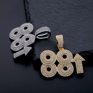 Gold & Silver 88 Rising Rich Iced Out Copper Pendant - MajesticVUE