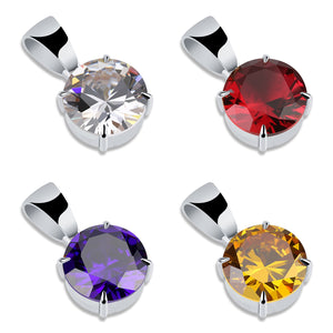 Red, White, Yellow & Violet Stones of Cubic Zircon Charm Chain Necklace & Pendant - MajesticVUE