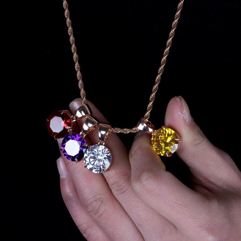 Red, Yellow, White & Violet Stone Cubic Zircon Charm Chain Necklace & Pendant - MajesticVUE