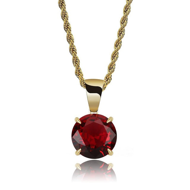 Gold Chain With Red Stone Cubic Zircon Charm Chain Necklace & Pendant - MajesticVUE