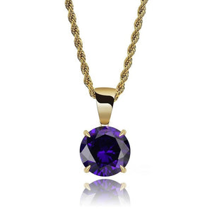 Gold Chain With Violet Stone Cubic Zircon Charm Chain Necklace & Pendant - MajesticVUE