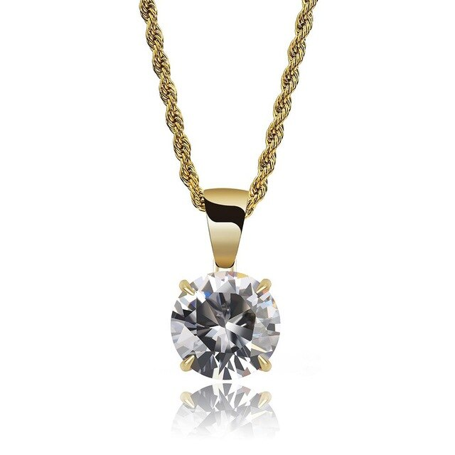 Gold Chain With White Stone Cubic Zircon Charm Chain Necklace & Pendant - MajesticVUE