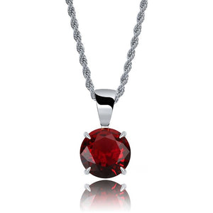 Silver Chain With Red Stone Cubic Zircon Charm Chain Necklace & Pendant - MajesticVUE