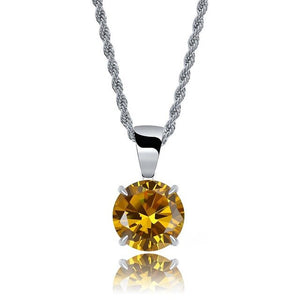 Silver Chain With Yellow Stone Cubic Zircon Charm Chain Necklace & Pendant - MajesticVUE