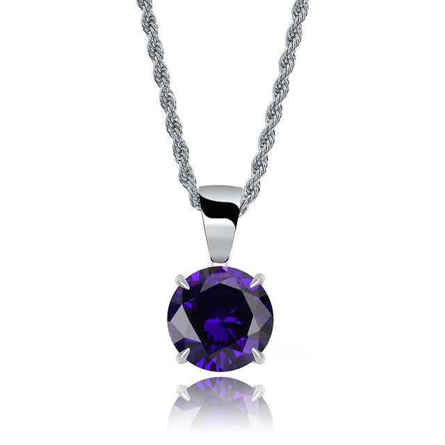 Silver Chain With Violet Stone Cubic Zircon Charm Chain Necklace & Pendant - MajesticVUE