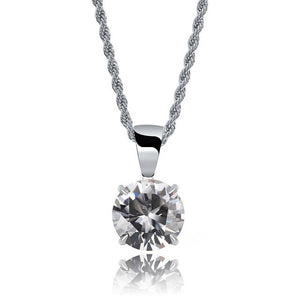 Silver Chain With White Stone Cubic Zircon Charm Chain Necklace & Pendant - MajesticVUE