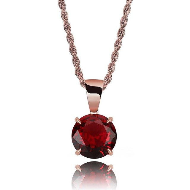 Rose Gold Chain With Red Stone Cubic Zircon Charm Chain Necklace & Pendant - MajesticVUE