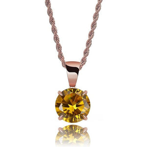 Rose Gold Chain With Yellow Stone Cubic Zircon Charm Chain Necklace & Pendant - MajesticVUE